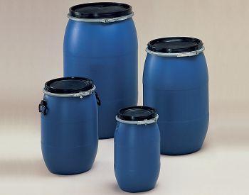 Weithalsfass 120 Ltr. aus PE Faß blau, Deckel schwarz
