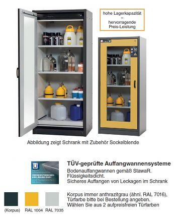 Sicherheitsschrank Q30-CLASSIC Glasausschnitt Tür lichtgrau RAL 7035