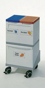 Wertstoff-Sammelstation 3-fach mit Untergestell, fahrbar