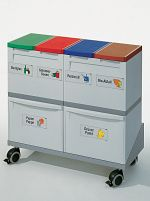 Wertstoff-Sammelstation 6-fach mit Untergestell, fahrbar