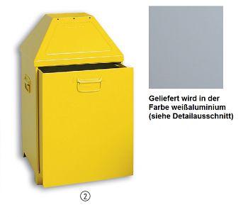 Wertstoffsammelbehälter ABF Mod. 2 HxBxT:870 x 450 x 450mm weißaluminium