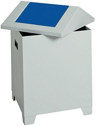 Putzwollbehälter PWK,  lichtgrau/blau 73 Ltr., HxBxT: 680 x 400 x 400 mm