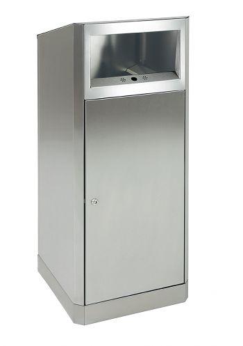 Edelstahl-Abfall-/Ascher-Kombination 80 Ltr., HxBxT: 1060 x 420 x 420 mm