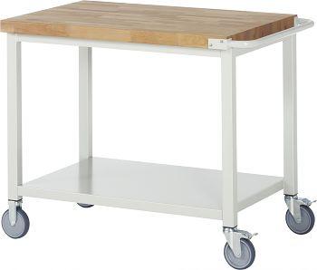 Fahrbare Werkbank mit Buche-Massiv- Platte BxTxH 1000x700x880 mm