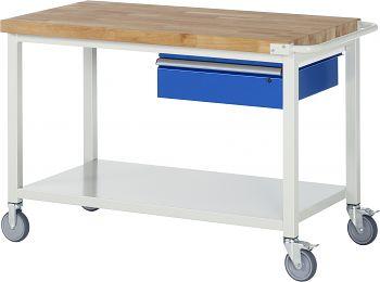 Fahrbare Werkbank mit Buche-Massiv- Platte BxTxH 1250x700x880 mm