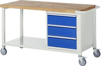 Fahrbare Werkbank mit Buche-Massiv- Platte BxTxH 1500x700x880 mm