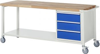 Fahrbare Werkbank mit Buche-Massiv- Platte BxTxH 2000x700x880 mm