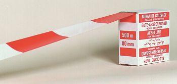 Absperrband 500 m/80mm rot/weiße Blockschraffen 99.500
