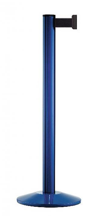 Personenleitpfosten blau mit 2,3 m Gurtband schwarz