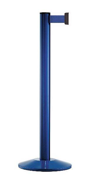 Personenleitpfosten blau mit 2,3 m Gurtband blau