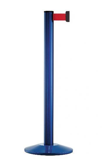 Personenleitpfosten blau mit 2,3 m Gurtband rot