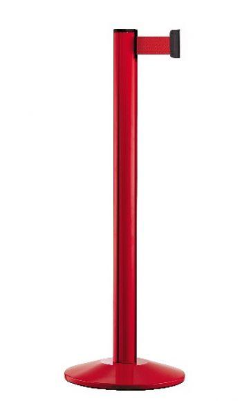 Personenleitpfosten rot mit 2,3 m Gurtband rot