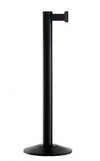 Personenleitpfosten schwarz mit 2,3 m Gurtband schwarz