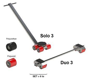 Transportfahrwerk Typ Solo 3 Polyurethan-Rollen, Tragl. 3000 kg