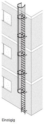 Einzügige Steigleiter, Aluminium natur, 5,90m lang