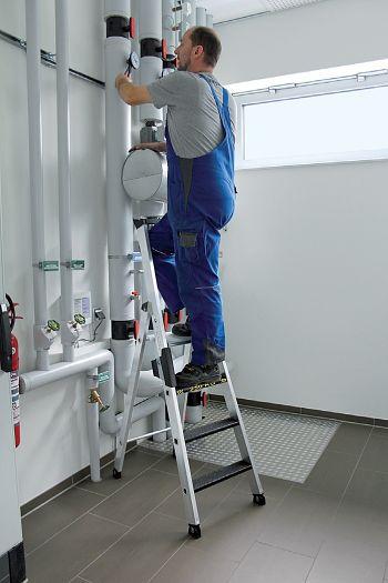 1-seitige Aluminium-Stehleiter Belastbarkeit 250 kg, 8 Stufen