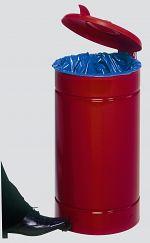 Tretabfallsammler,Beschichtet rot, Deckel rot