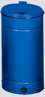 Tretabfallsammler,Beschichtet enzianblau, Deckel blau