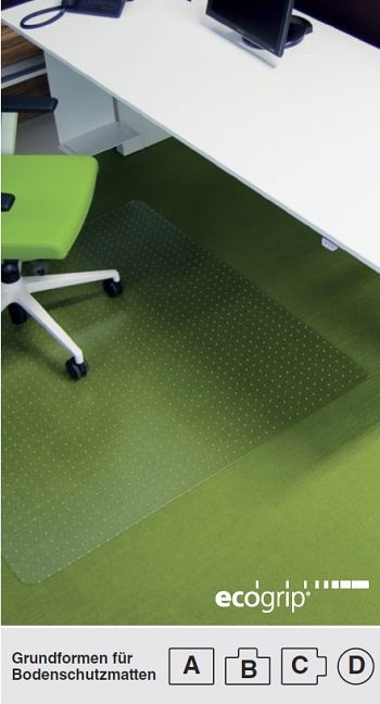 Bodenschutzmatte Ecogrip®, Form B für Teppichböden, BxT 1500 x 1200 mm