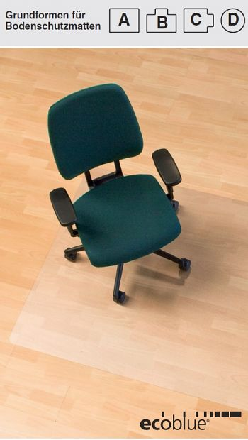 Bodenschutzmatte Ecoblue®, Form D für Teppichböden, Ø 1200 mm
