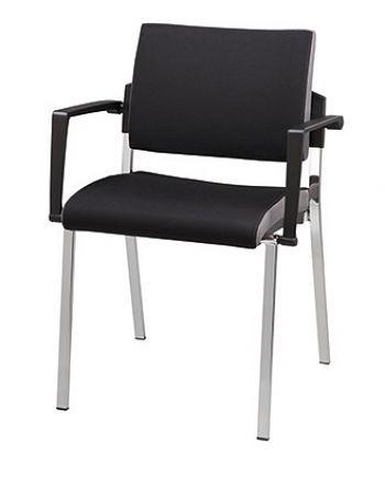 4-Fuß-Stuhl, Gestell: Chrom Bezug: Schwarz, VE=2 Stck.
