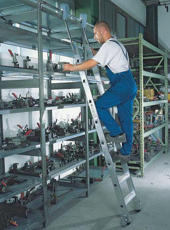 Aluminium-Regalleiter, fahrbar, 6 Stufen