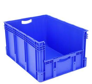 Euro-Stapelbehälter mit Entnahme- öffnung blau 800 x 600 x 420 mm