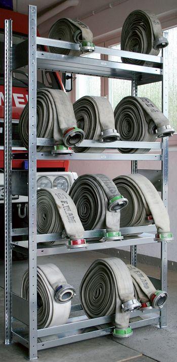Feuerwehrschlauchgrundregal LxHxT1000x2000x300 mm, 4 Böden