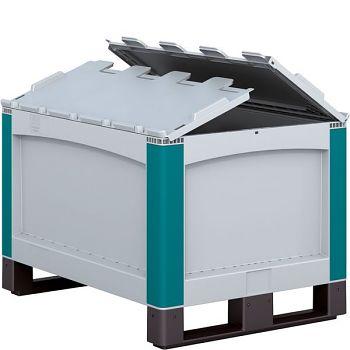 Schwerlastbehälter mit anscharniertem Klappdeckel LxBxH 800 x 600 x 538 mm