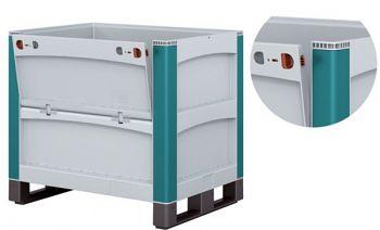 Schwerlastbehälter m. Entnahmeöffnung und Verschlussklappe, längsseitig