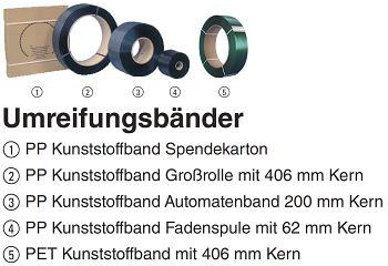 PP Kunststoffband 16 mm Kern 62 mm Rolle a 500m VE: 2000m = 4 Rollen