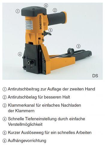 Kartonheftmaschine Druckluft, B 16/19 mm
