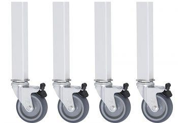 Rollensatz für Unterbau 30x30 4 Lenkrollen mit Feststeller