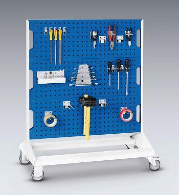 Perfo-Rack fahrbar bestückt mit 40 Haken BxTxH 1000 x 550 x 1250 mm