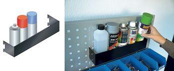 Spraydosenhalter für Loch-Seitenwand H x B x T  70 x 380 x 74 mm