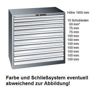 Schubladenschrank Selection Lichtgrau BxTxH 1023 x 725 x 1000 mm, mit