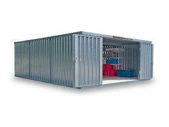 Material-Lagercontainer 3er- Kombination, verzinkt, zerlegt