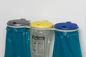 Abfallsammler mit Wandkonsole 3fach Deckel silber/gelb/blau