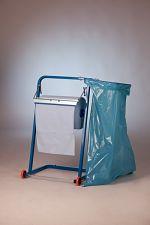Bodenständer blau lackiert mit Rollen+Sackhalterung 70/120 l