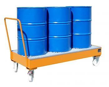 Fahrbare Auffangwanne aus Stahl für 3 x 200 l Fässer, stehend