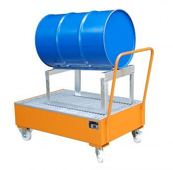 Fahrbare Auffangwanne aus Stahl für 1 x 200 l Fass, liegend mit Fassbock