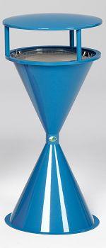 Kunststoff-Standascher mit Schutzdach und Bodenrode, lichtblau