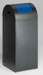 Selbstlöschender Wertstoffsammler antik-silber 60 l, Einwurfklappe blau