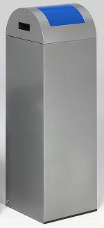 Selbstlöschender Wertstoffsammler silber 89 l, Einwurfklappe blau