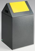 Selbstlöschender Wertstoffsammler antik-silber 43 l, Einwurfklappe gelb