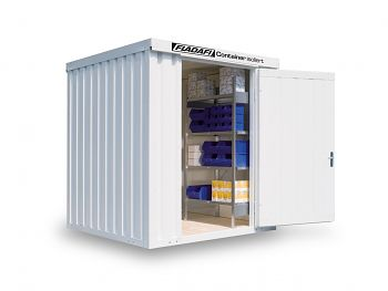 Isolierter Materialcontainer Mod.1200 kompl. montiert mit Holzfußboden