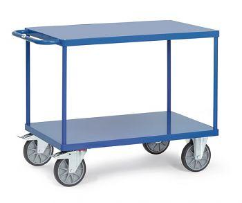 Tischwagen mit Stahlblechplattform Ladefläche 850x500 mm mit 2 Böden