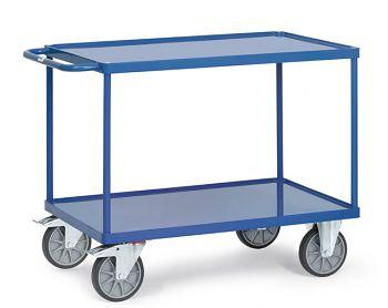 Tischwagen mit Stahlblechwanne Ladefläche 850x500 mm mit 2 Böden
