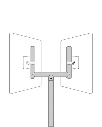 Gabelaufsatz passend für 2 Spiegel