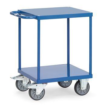 Tischwagen mit Stahlblechplattform Ladefläche 600x600 mm mit 2 Böden